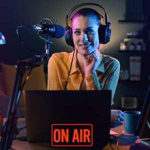 Broadcasting on air at the radio station